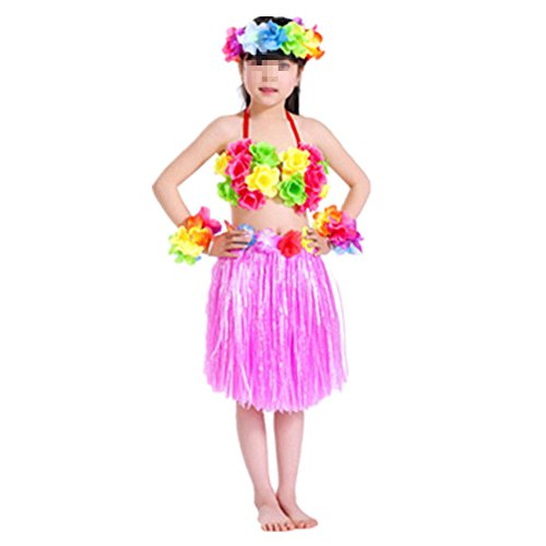 Hawaiano-Vestido-Falda-Hierba-para-Ninas-Guirnaldas-de-flores-5pcs-Accesorios-de-playa-Costume-Disfraces-Rosa