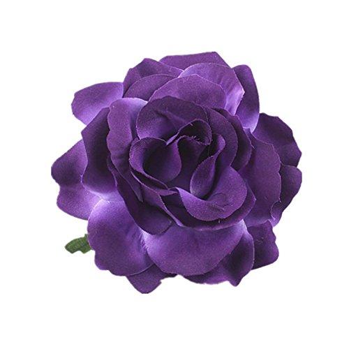 HENGSONG Elegante Damen Accessoires Haarblumen Haarblüte Haarspange Haarschmuck Rose Broschen Ansteckblume viele Farben (Lila)