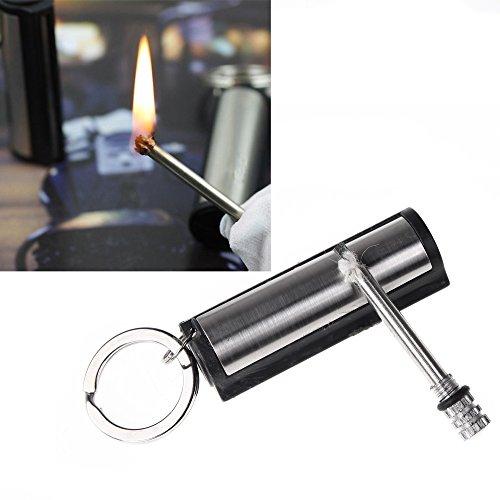 oxgrow (TM) Metall Wasserdicht Permanent Match Striker Feuerzeug mit Schlüsselanhänger Survival passend für Outdoor Camping Silber