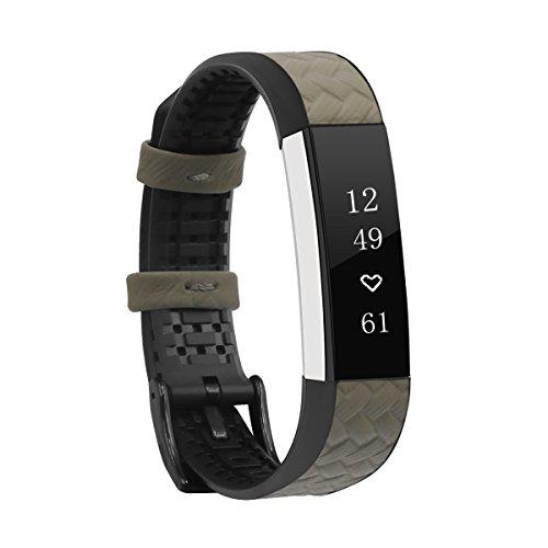 Armband, happytop Handgelenk Handschlaufe Uhren Ersatz TPU und Leder für Fitbit Alta/Alta HR S beige Beige-leinen, Schmuck-display
