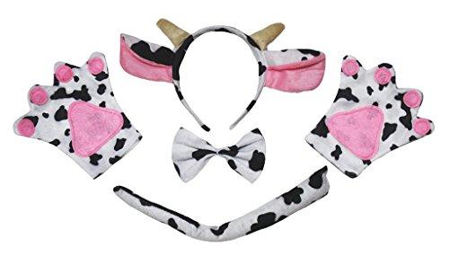 Kuh Stirnband Kostüm - Petitebelle Rind, Kuh, Tier Stirnband Bowtie Schwanz Handschuhe 4pc Kind-Kostüm Einheitsgröße Braun