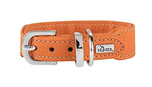HUNTER CANNES MINI Halsband für kleine Hunde, Leder, Nappaleder, weich, edel, elegant, 37, orange -