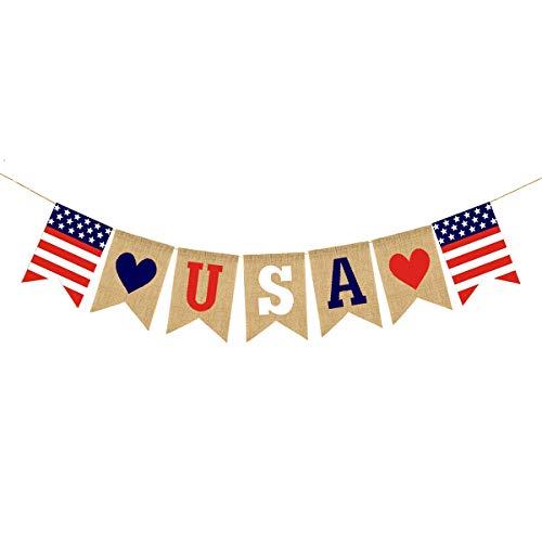 ne USA-Herz-Muster-amerikanische Flagge rote weiße Blaue Sternfahne Garland Independence Day Decoration ()