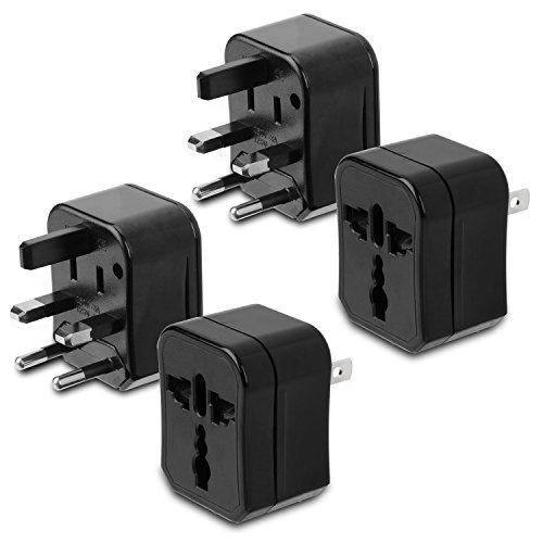 Incutex 2x adaptateurs de voyage compact 3 parties adaptateur universel de voyage adaptateur international, noir