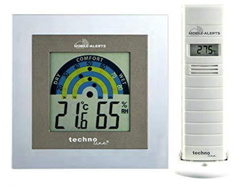 Technoline MA 10260 Zusatzsensoren -Set mit Raumklimastation für das Mobile Alerts System mit tranparenten Rahmen, 10 x 2 x 10 cm, weiß/grau -