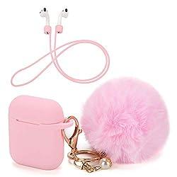 OOTSR Schutzhülle mit süßem Pompon-Ball-Schlüsselanhänger kompatibel mit Apple AirPods-Ladekoffer, voller Silikonhülle und Anti-Lost-Strap für Apple AirPods als Geschenke (Pink)