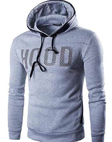 Yeirui Men Hooded Letter Print Sport Pullover Hoodie Sweatshirt Light Grey US XL -
