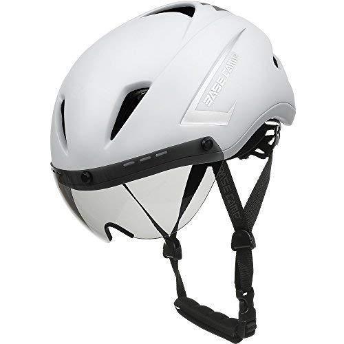 Base Camp Fahrradhelm mit abnehmbarem Visier Rennradhelm Sporthelm, Damen/Herren, Helm für Skates/Fahrrad (Air Weiß)