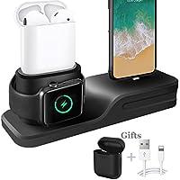Cargador 3 en 1 para iPhone AirPods Apple Watch Estación de Carga de Silicona, Soporte para el Apple Watch 3/2/1, AirPods, iPhone X/8/8 Plus/7/7 Plus/6s Negro
