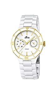 Lotus Reloj de Cuarzo para Mujer con Color Blanco Esfera analógica Pantalla y Blanco Pulsera de cerámica 15932/2