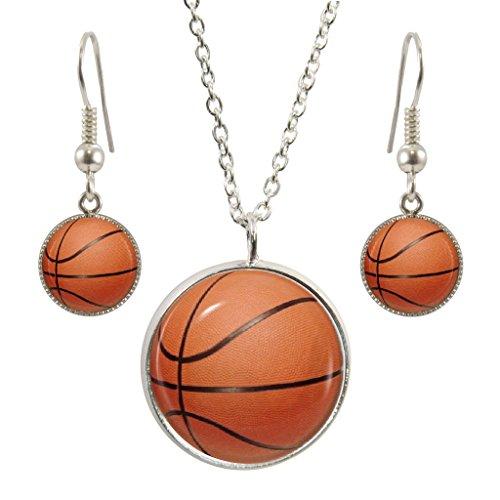BASKETBALL Design Anhänger mit Silber vergoldet Halskette und passende Ohrringe Set (Ball Synthetischen Nba)