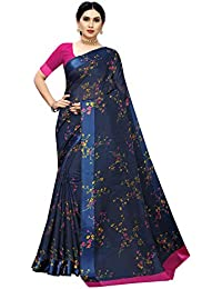 Anni Designer Women's Navy Blue Color Linen Cotton Satin Patta Flower Printed Saree With Blouse Piece (APU NAVY_Free Size)