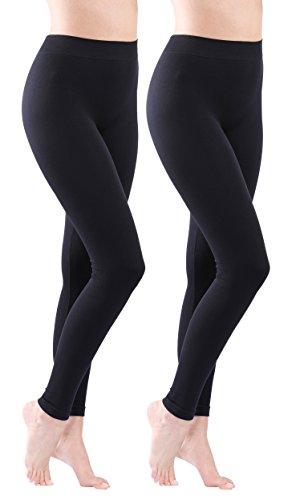 2er Pack Yenita® Damen Leggings Blickdichte Baumwoll-Leggings lang