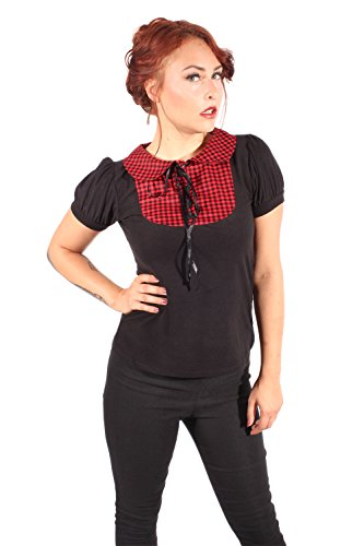 SugarShock Damen Bubikragen Puffärmel Gingham pin up Rockabilly Karo punk rock T-Shirt XL