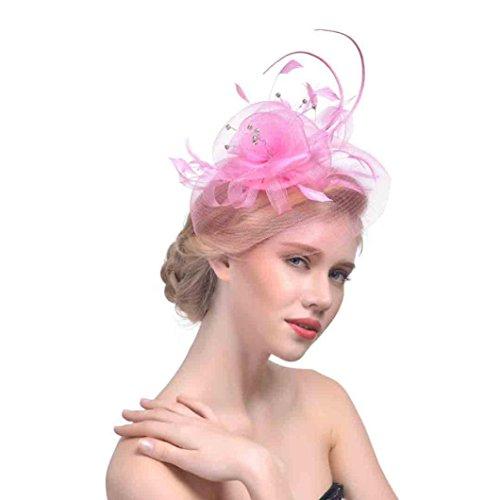 Liuchehd copricapo per cappelli mesh bride bridal hat retro performance party piuma accessori rete piume nozze cappello da festa (rosa, codice medio)