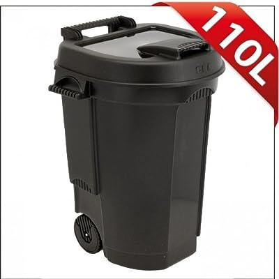 Abfallbehälter 110L schwarz fahrbar Mülltonne Garten Abfalltonne von sonstige bei Du und dein Garten