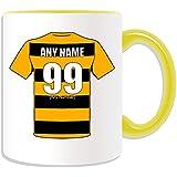 Regalo personalizado–Alloa Athletic taza (Club de fútbol diseño tema, colores)–cualquier nombre/mensaje en su única taza–las avispas, cerámica, Amarillo