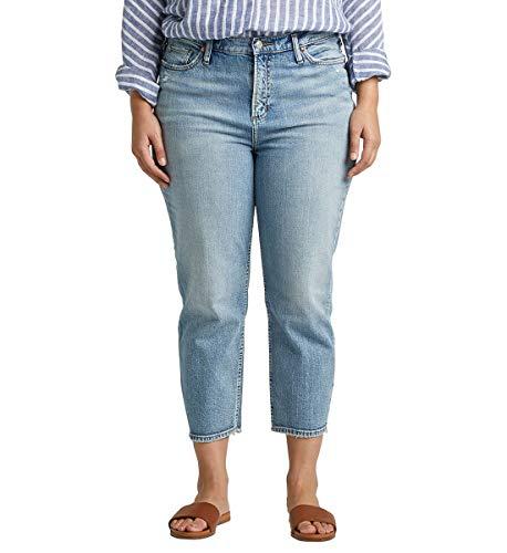 Silver Jeans Co. Damen Plus Size Frisco High-Rise Vintage Straight Crop Jeans, Medium Indigo, 14W x 25L (Miss Me Bootcut Jeans)