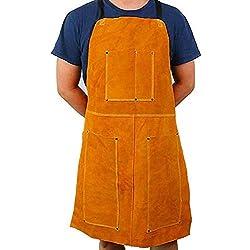 Delantal de soldadura de piel, delantal Blacksmith, resistente retardante de llama, soldador de trabajo, unisex, ajustable, ropa protectora, carpintería, trabajo de linterna, techo, carpintería