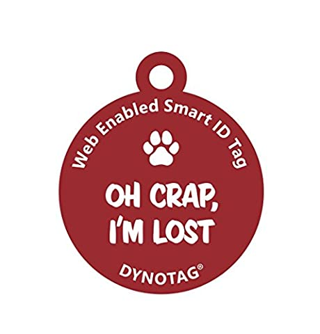 Dynotag® Web/GPS Enabled QR Code Smart Deluxe Coated Steel Pet Tag (Red: