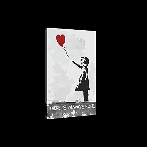 BILD CANVASBILD Wandbild Leinwandbild Kunstdruck Canvas | Kleines Mädchen mit Ballon Banksy | O6 (80cm. x 60cm.) | Canvas Picture Print PP2039O6-MS | Madchen Ballon Schwarz Herz Rot Banksy Liebe ()