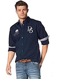 74678aef730 John Devin - Chemise casual - Manches 3 4 - Homme Bleu Marine S