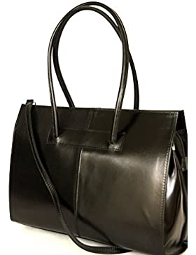 Leather ladies business bag / Briefcase / laptop bag con tracolla ( 49 / 28 / 13 cm)pelle Italia mod. 2026 p