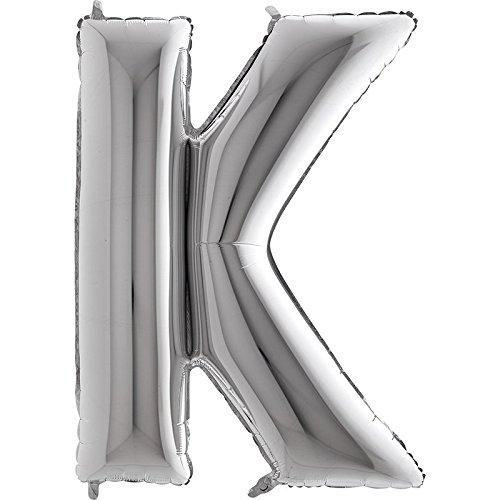 Ballon Buchstabe K in Silber - XXL Riesenbuchstabe 100cm - für Geburtstag Jubiläum & Co - Party Geschenk Dekoration Folienballon Luftballon Namen Wörter (Buchstabe K)