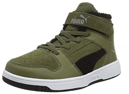 PUMA Baby Unisex-Kinder Basket Flower Ac Inf Sneaker, Grün (Burnt Olive-Puma Black-Limestone-Puma White 02), 30 EU (11.5 UK)