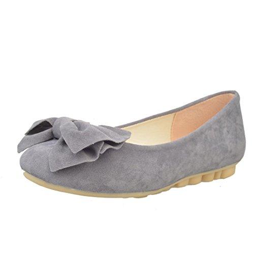 Culater Zapatos mujer Bailarina Manoletinas Pumps Cerrados Ballet clásico pajarita Imitación de gamuza (40, Gris)