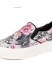 ZQ Zapatos de mujer - Plataforma - Punta Redonda - Mocasines - Casual - Semicuero - Negro / Blanco , white-us8.5...