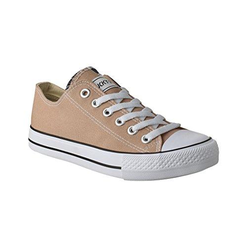 Elara Unisex Sneaker | Sportschuhe für Herren und Damen | Low top Turnschuh Textil Schuhe Farbe Khaki, Größe 37