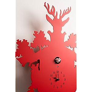 Diamantini & Domeniconi 45 x 88 x 25 cm, in metallo, taglio Laser Cucu-Orologio a cucù, colore: rosso