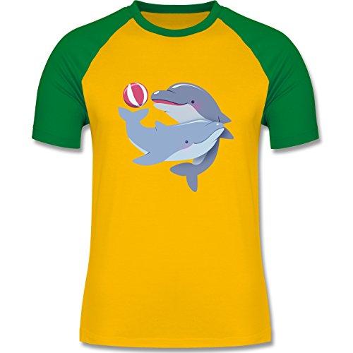 Wildnis - Delfine - zweifarbiges Baseballshirt für Männer Gelb/Grün