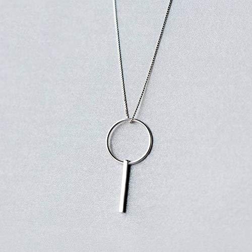 Katylen Frauen Einfache Geometrische Halskette S925 Silber Halskette Weibliche Mode Einfache Runde Wort Halskette Persönlichkeit Geometrische Schlüsselbein Kette Weiblich, S925 Silbersatzkette