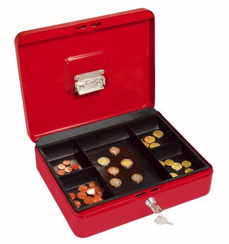 Wedo 145402H Geldkassette (aus pulverbeschichtetem Stahl, versenkbarer Griff, Geldnoten- und Belegeklammer, 5-Fächer-Münzeinsatz, Sicherheits-Zylinderschloss, 30 x 24 x 9 cm) rot