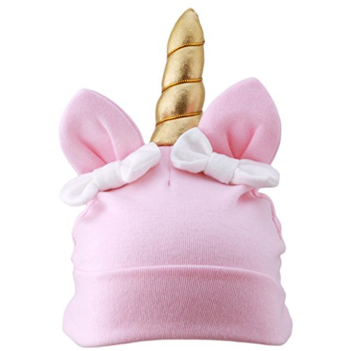 Chinget Baby Kinder Unicorn Einhorn Stil Mütze Beanie Jungen Mädchen Hut Stricken Weichen Kinder Cap Unisex (Rosa)