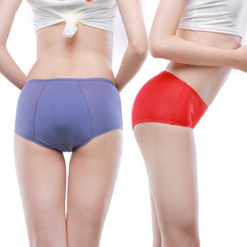 Bambus Viskose Faser Hochhaus kurze Menstruation Physiologische auslaufsicher Slip Multi Pack Größe 36-46 Rot,Lila,Blau