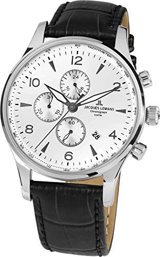 JACQUES LEMANS Herrenuhr London  Lederarmband massiv Edelstahl  Chronograph 1-1844ZB