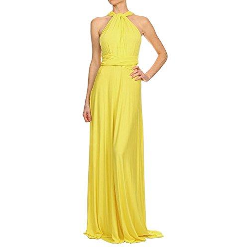Damen Elegant Abendkleid V-Ausschnitt Brautjungfer Cocktailkleid Faltenrock Langes Abendkleid, Gelb, S