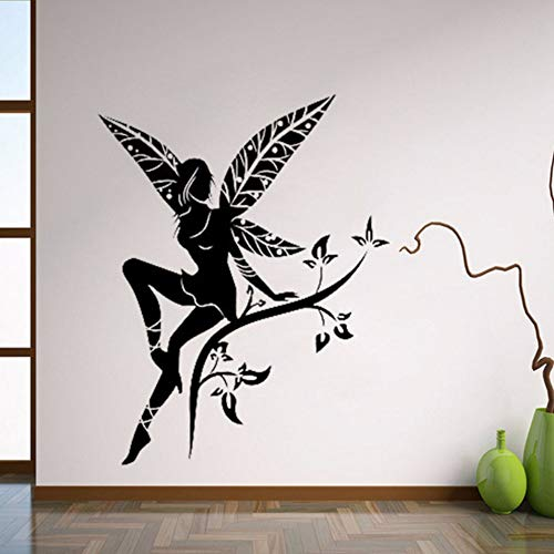 Pbldb 42X55 Cm Wild Flower Fairy Tree Wings Wandtattoo Aufkleber Schablone Wandbild Kunst Wandaufkleber Dekor Für Kindergarten Kinderzimmer (Halloween Fairy Wings Diy)