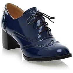 AllhqFashion Mujer Cordón Charol Tacón Medio Puntera Redonda ZapatosdeTacón, Azul, 33