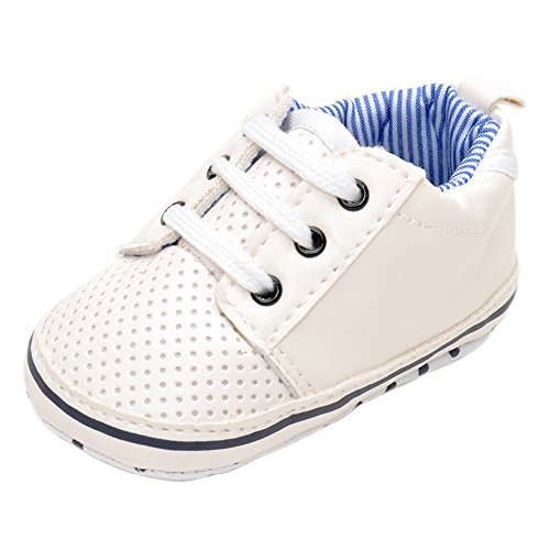 Estamico Baby Junge weiß Tennis Schuhe Weiß Größe 3-6 monate (Weißen Baby-schuh Jungen)