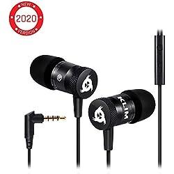 KLIMTM Fusion Ecouteurs Haute Qualité Audio - Durables + Garantis 5 Ans - Innovant - Ecouteur Intra-auriculaire avec Mousse à Mémoire de Forme et Microphone - Prise Jack 3,5mm - Version 2020 - Noir