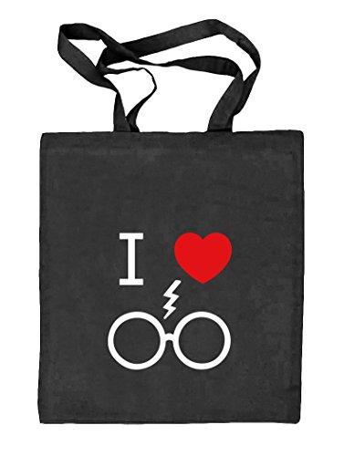 Shirtstreet24, I Love Harry, Natur Stoffbeutel Jute Tasche (ONE SIZE) schwarz natur