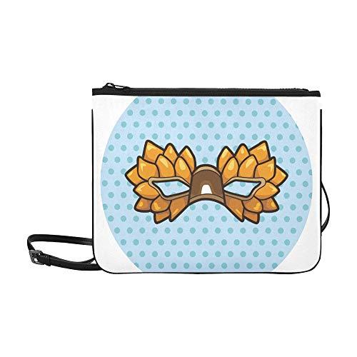 Verschiedene farben Cartoon Party Maske Muster Benutzerdefinierte hochwertige Nylon Schlanke Handtasche Umhängetasche Umhängetasche