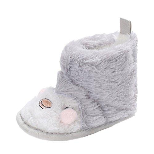 Baby Winter Schuhe,Auxma Baby Jungen Mädchen Plüsch-nette Karikatur-Stiefel Schneestiefel weiche Krippe Schuhe Kleinkind Stiefel Säugling Hausschuhe für 0-6 6-12 12-18 Monate (11cm/0-6 M, B) (Schuhe Bow Wohnungen, Kleidung)