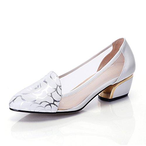 Avec des chaussures/Maille ronde rose chaussures avec taille de talons chunky/souliers de travail A
