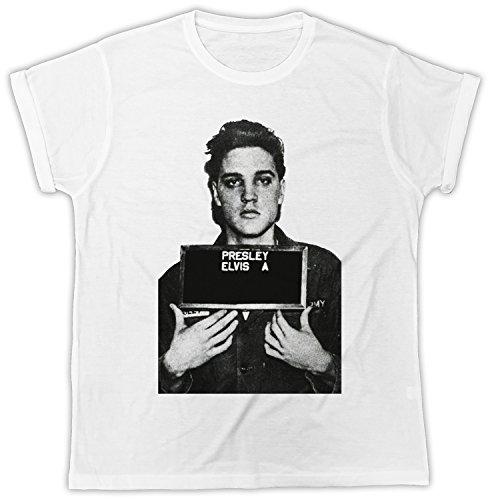 Elvis T-shirt Mugshot (Uk print king Elvis Presley Mugshot Designer Unisex T-Shirt, Cooler Spruch, Slogan, Lustiges Design, Geschenkidee)