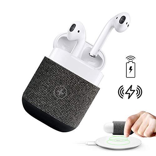 Funda de AirPods Cargador Inalámbrico de AirPods Cubierta Protectora de Carga Inalámbrica para Auriculares Bluetooth AirPods Compatible con Todos los Cargadores Inalámbricos QI Gris